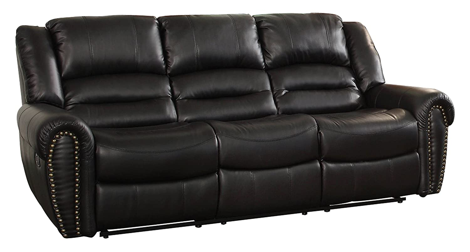 Amazon.com: Homelegance 9668BLK 3 Double Reclining Sofa, Black Bonded  Leather: Kitchen U0026 Dining