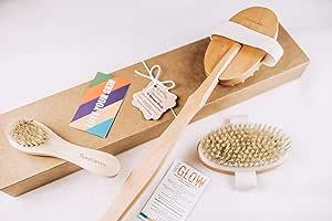 PrimaShoppe Wooden Body Brush Shower Bath Set for Body Exfoliating Dry Brushing and Massage Gift Set