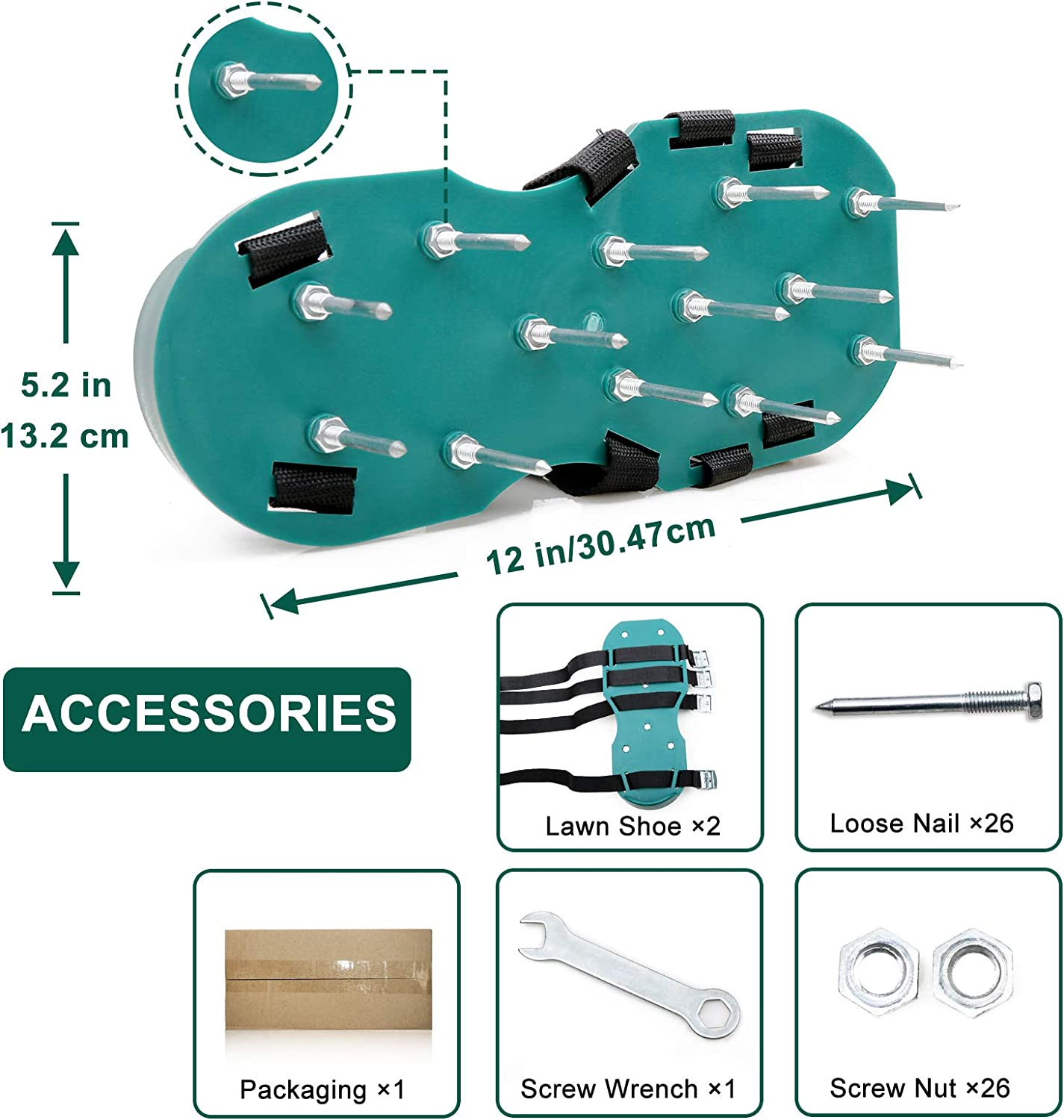 Manual Lawn Aerators Large with 4 Adjustable Straps and One-Size ...