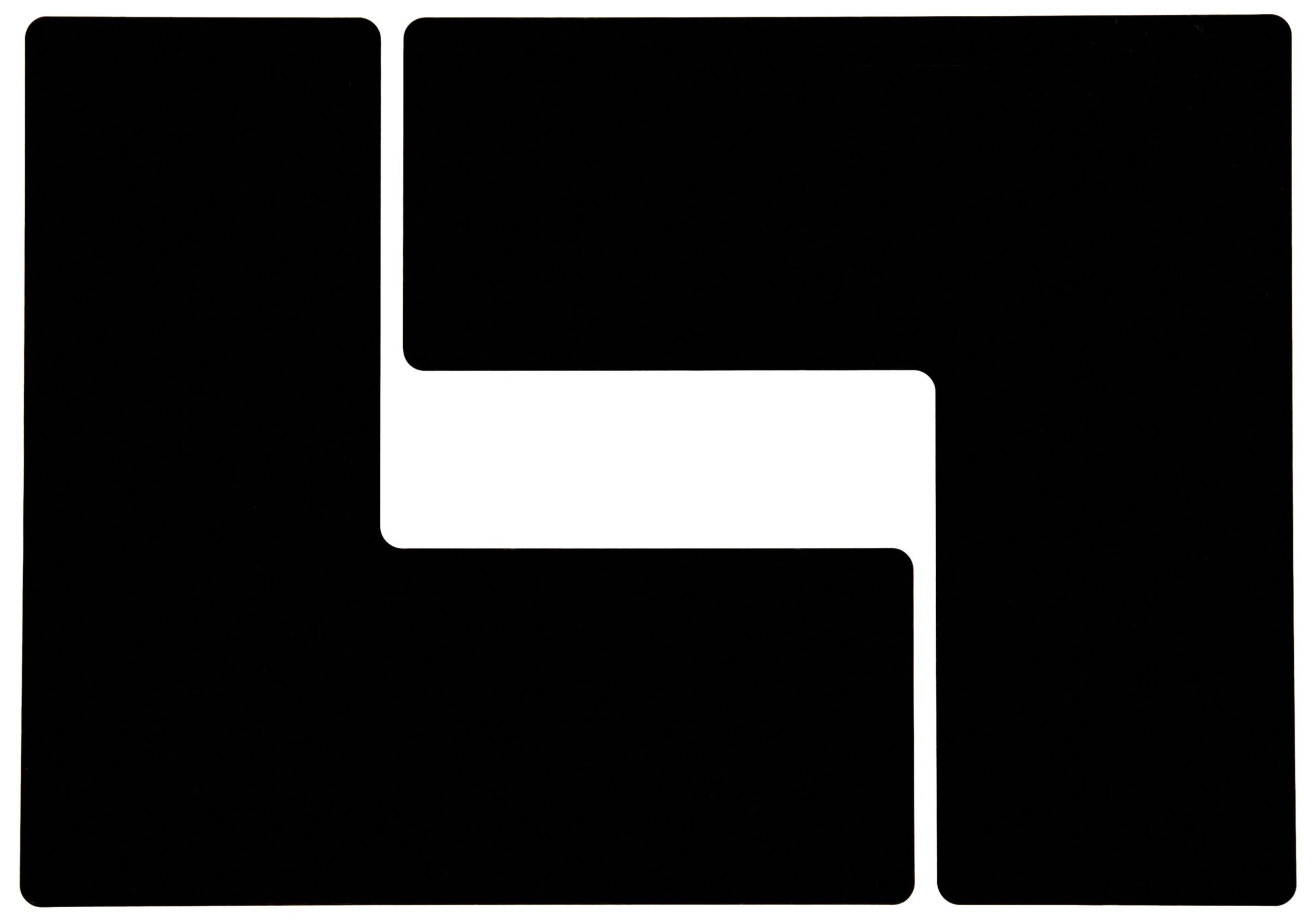 Brady ToughStripe Nonabrasive  L Shape Floor Marking Tape, 10'' Length, 4'' Width, Black (Pack of 20 per Roll)
