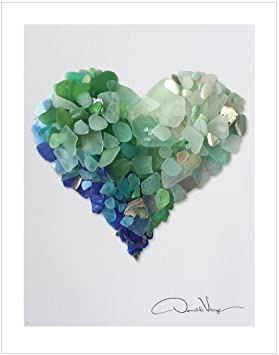 Review Love. Raw Sea Glass Heart. Unique Fine Art Photography Print. 11x14 Poster. Great For Framing. Best Quality Gifts for Him, Her, Birthday, Christmas, Mother's Day & Valentines Day for Men, Women & Kids