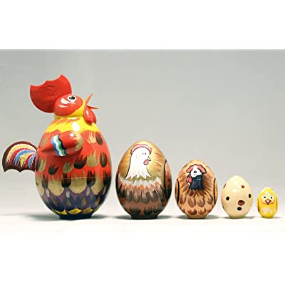 Rooster 5 Piece Russian Wood Nesting Doll Matryoshka Stacking Dolls Russia Bird: Toys & Games
