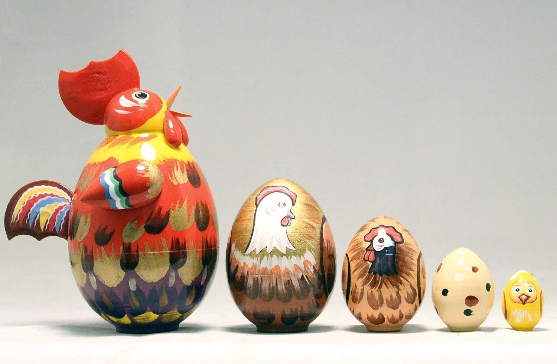 B001R18GFW Rooster 5 Piece Russian Wood Nesting Doll Matryoshka Stacking Dolls Russia Bird 71b3W3wIbbL