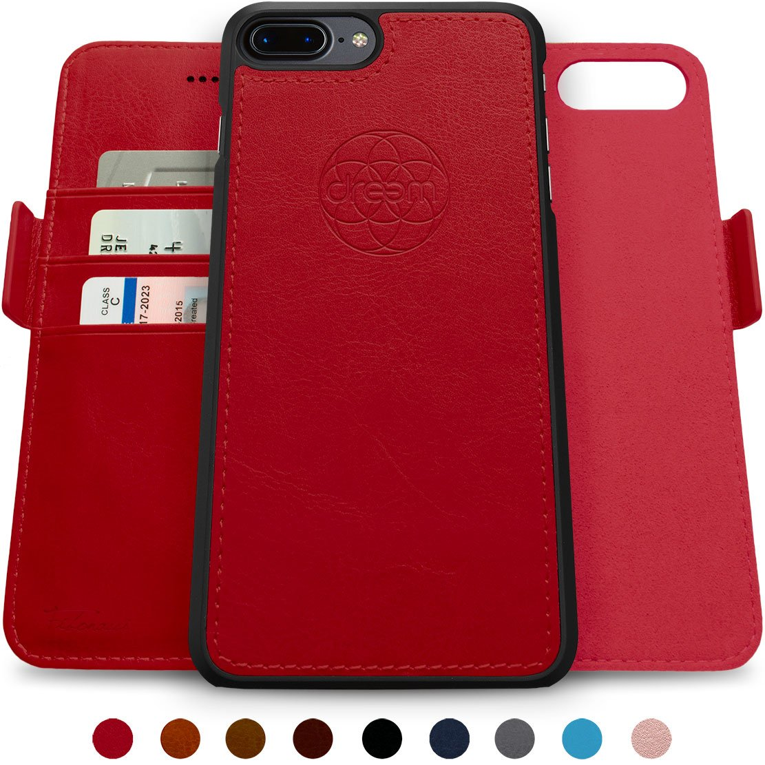 Dreem Fibonacci 2-in-1 Wallet-Case for iPhone 8 & 7, Magnetic Detachable Shock-Proof TPU Slim-Case, Allows Wireless Charging, RFID Protection, 2-Way Stand, Luxury Vegan Leather, Gift-Box - Red