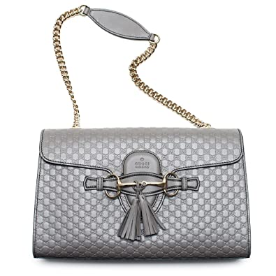 00e3070ac682 Amazon.com: Gucci Emily GG Micro Shoulder Lousse Grey Gray Leather ...