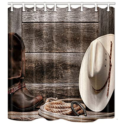 KOTOM Western Shower Curtains For Bathroom Cowboy Hat Boots And Rope Against Retro Wooden Board
