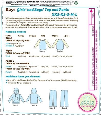 Shirt Sizes XXS-L KWIK-SEW PATTERNS K0251OSZ Kwik Boys and Girls Hoodie and Pants Sewing Patterns by Ellie Mae Designs