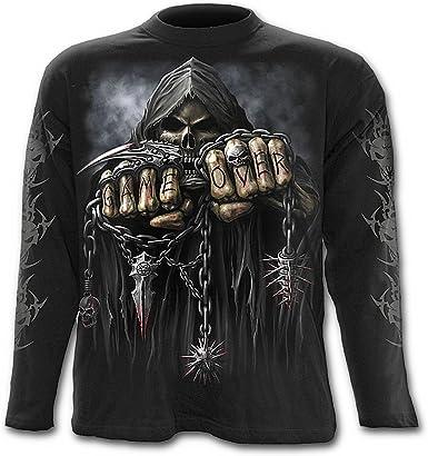 Game Over, gothic fantasy metal rock esqueleto camisa de manga larga negro - M - Spiral: Amazon.es: Ropa y accesorios