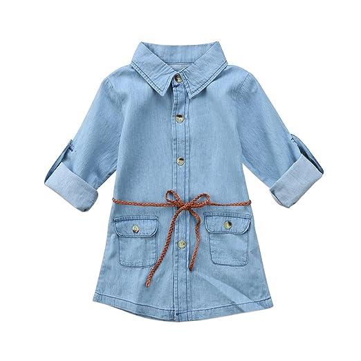 eea014377 BiggerStore Fashion Kids Toddler Baby Girl Belted Denim Dress Above Knee  Length 1-6T (