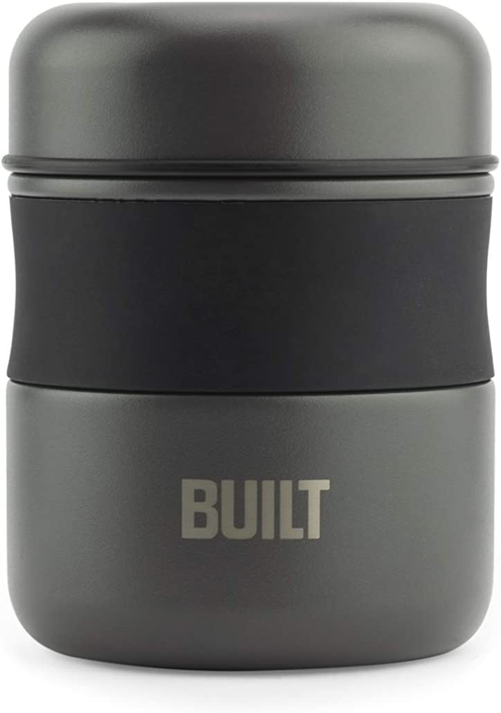 BUILT 5237970 Double Wall Stainless Steel Vacuum Insulated Reusable Food Storage Jar, 10-Ounce, Charcoal