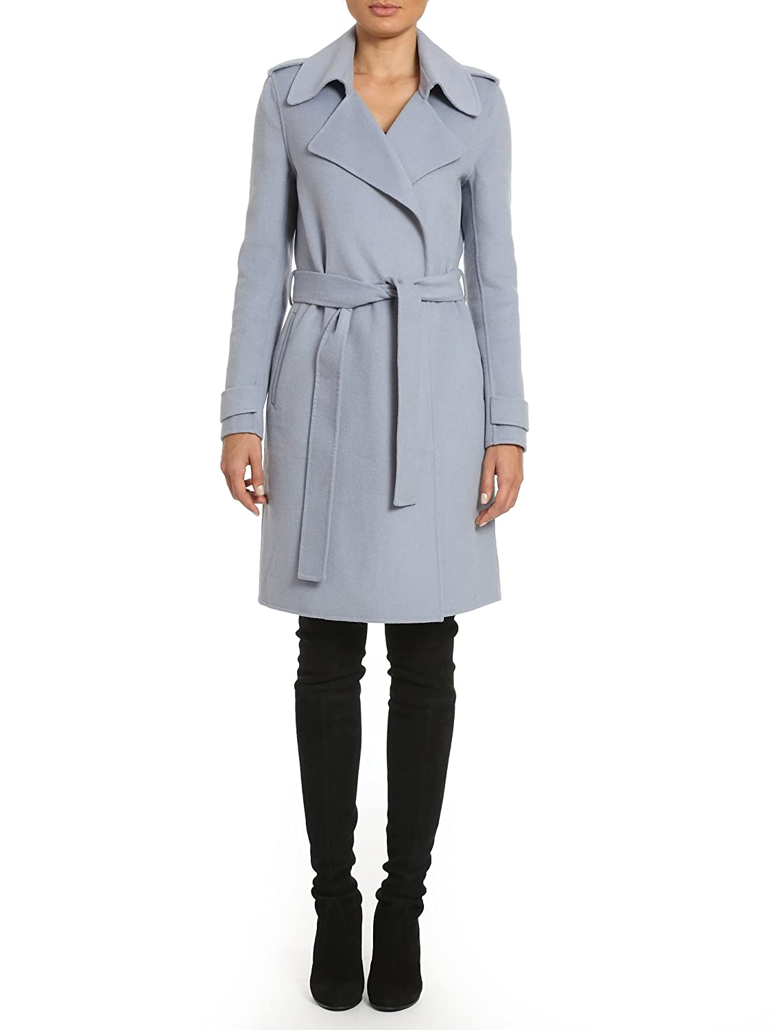 214899b1aede Amazon.com: Badgley Mischka Women's Double Face Wool Wrap Trench Coat:  Clothing