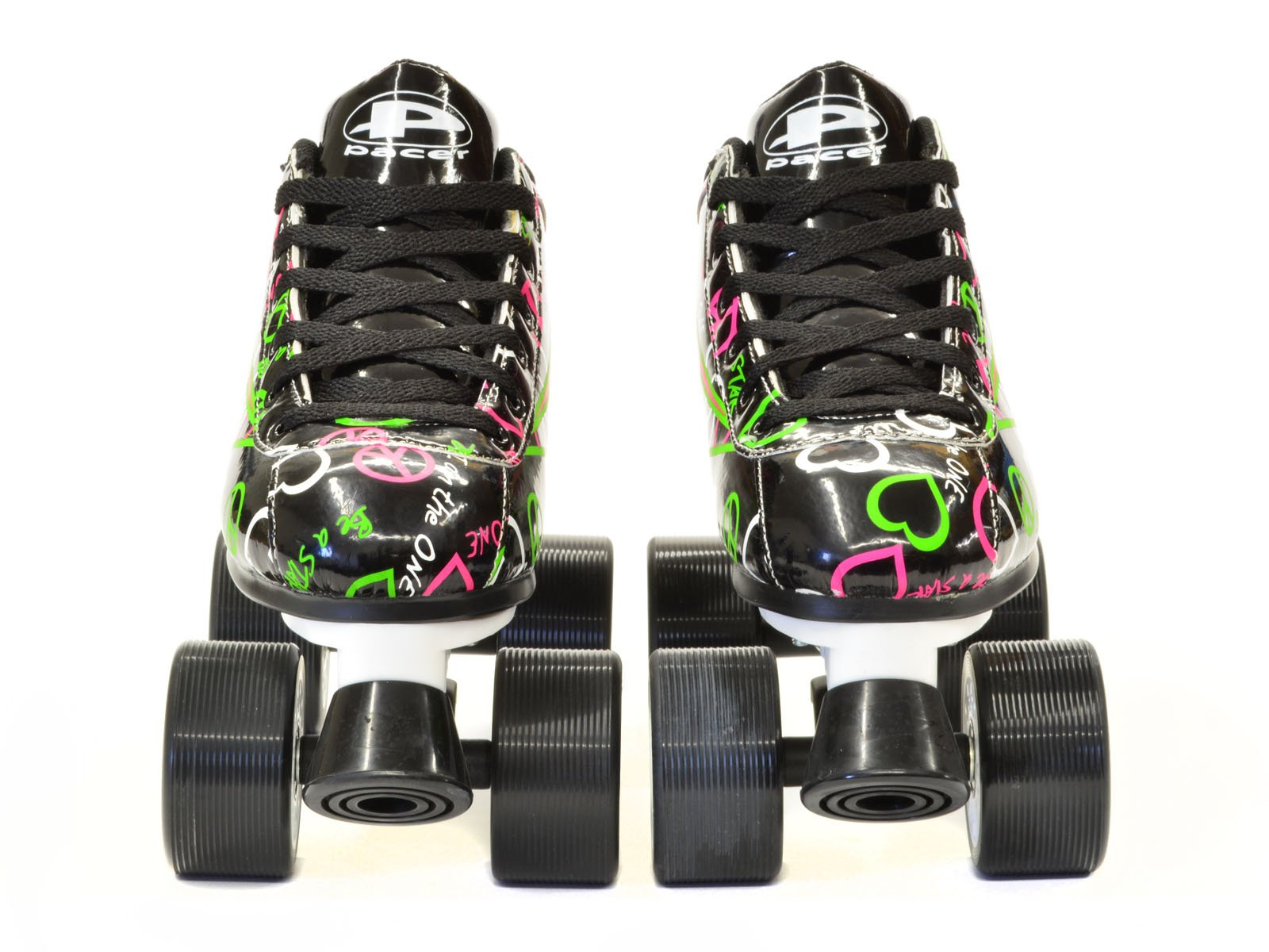 Pacer Black & Neon Heart Throb Quad Roller Speed Skates with Bonus 3 Pr. Laces (Ladies 7 / Mens 6)