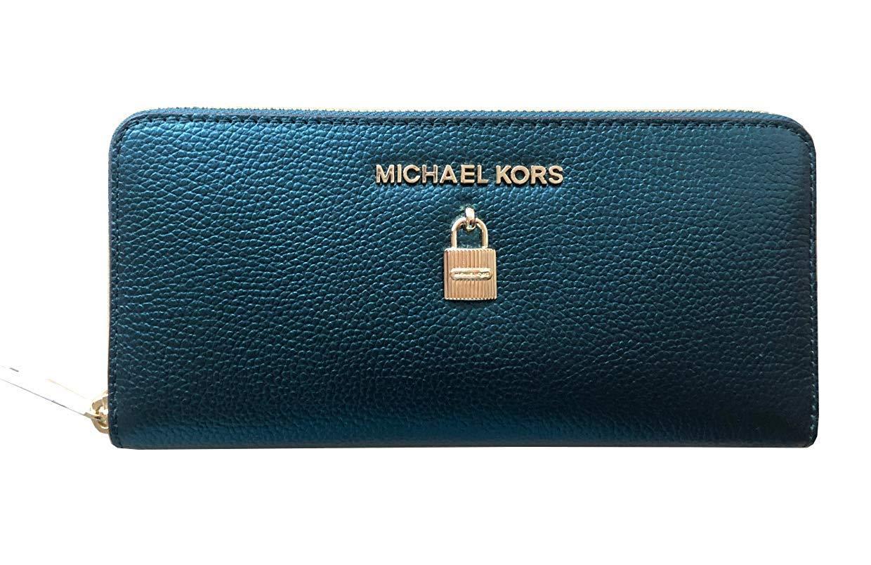 Michael Kors Giftable Jet Set Adele Zip Around Leather Wallets (Deep Teal/Gold)