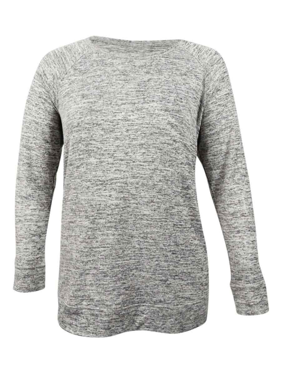 Style & Co. Womens Plus Heathered Long Sleeves Casual Top Gray 3X