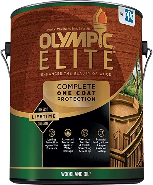 Olympic Stain 80115 Elite Woodland Oil Stain 1 Gallon Red Cedar Amazon Com Industrial Scientific