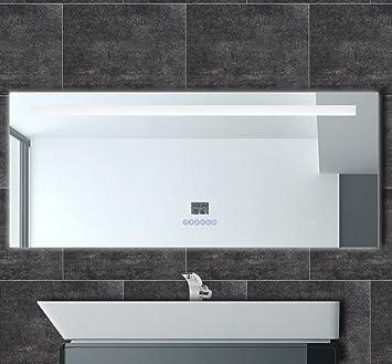 Badspiegel mit Radio Uhr LED Beleuchtung Datum Temperatur ...