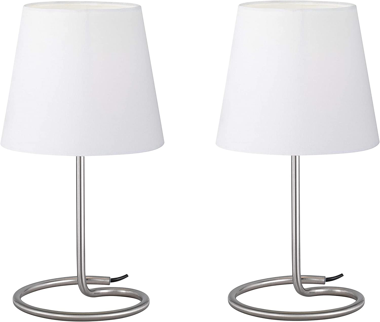 Reality R50272001 Twin Lámpara de sobremesa, Tela, Blanca, 33 x 18 x 18 cm, Set de 2