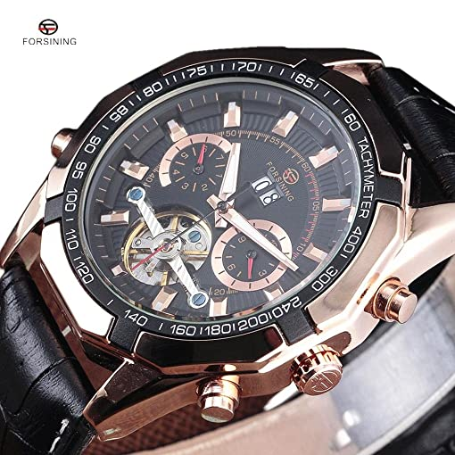 Forsining Top Luxury Brand Leather Strap Tourbillon Movement Automatic Mechanical Men Wrist Watch