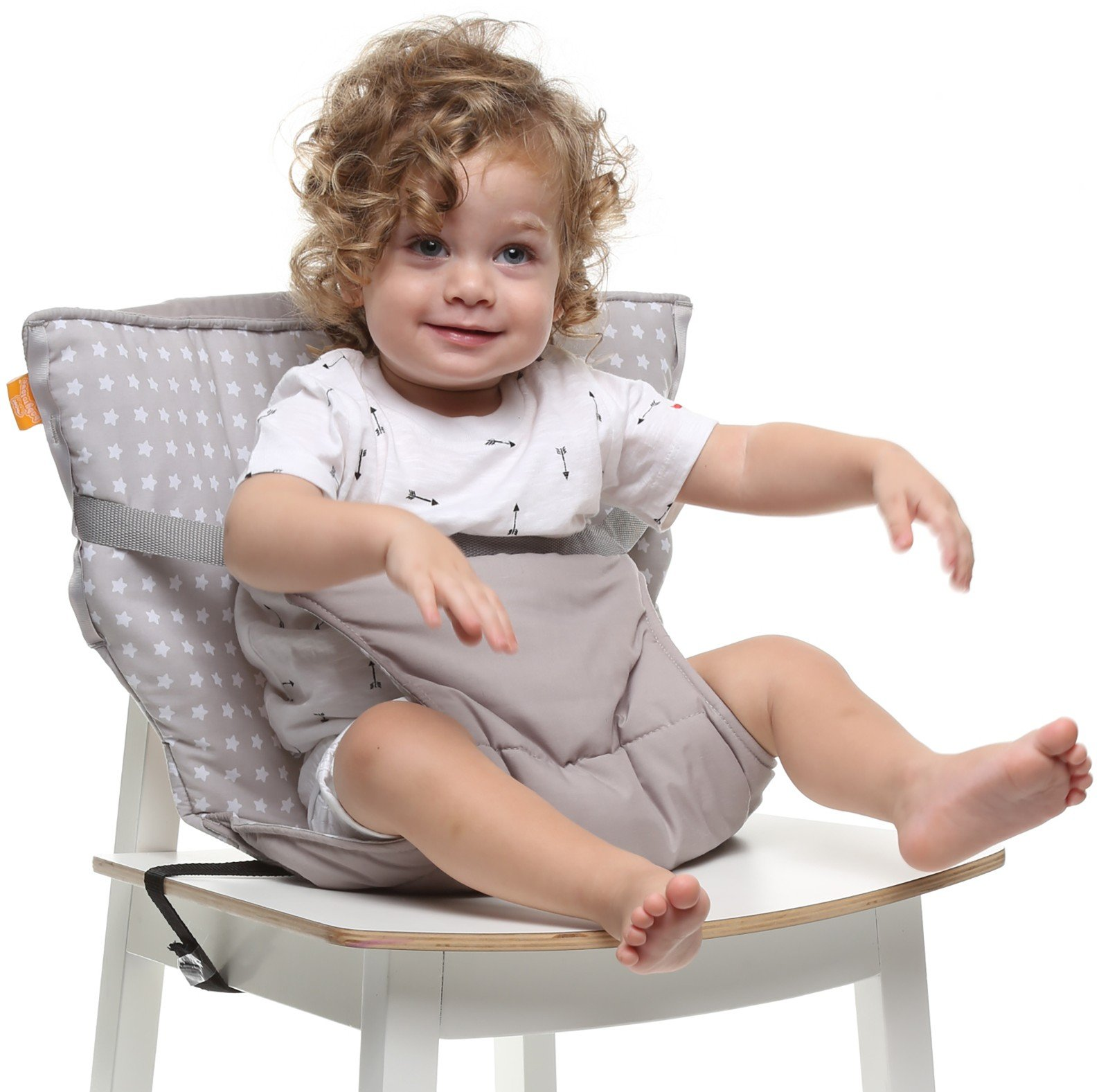 Baby-to-Love Pocket Chair, Portable Feeding Chair Cover Infant & Toddler (White Stars)