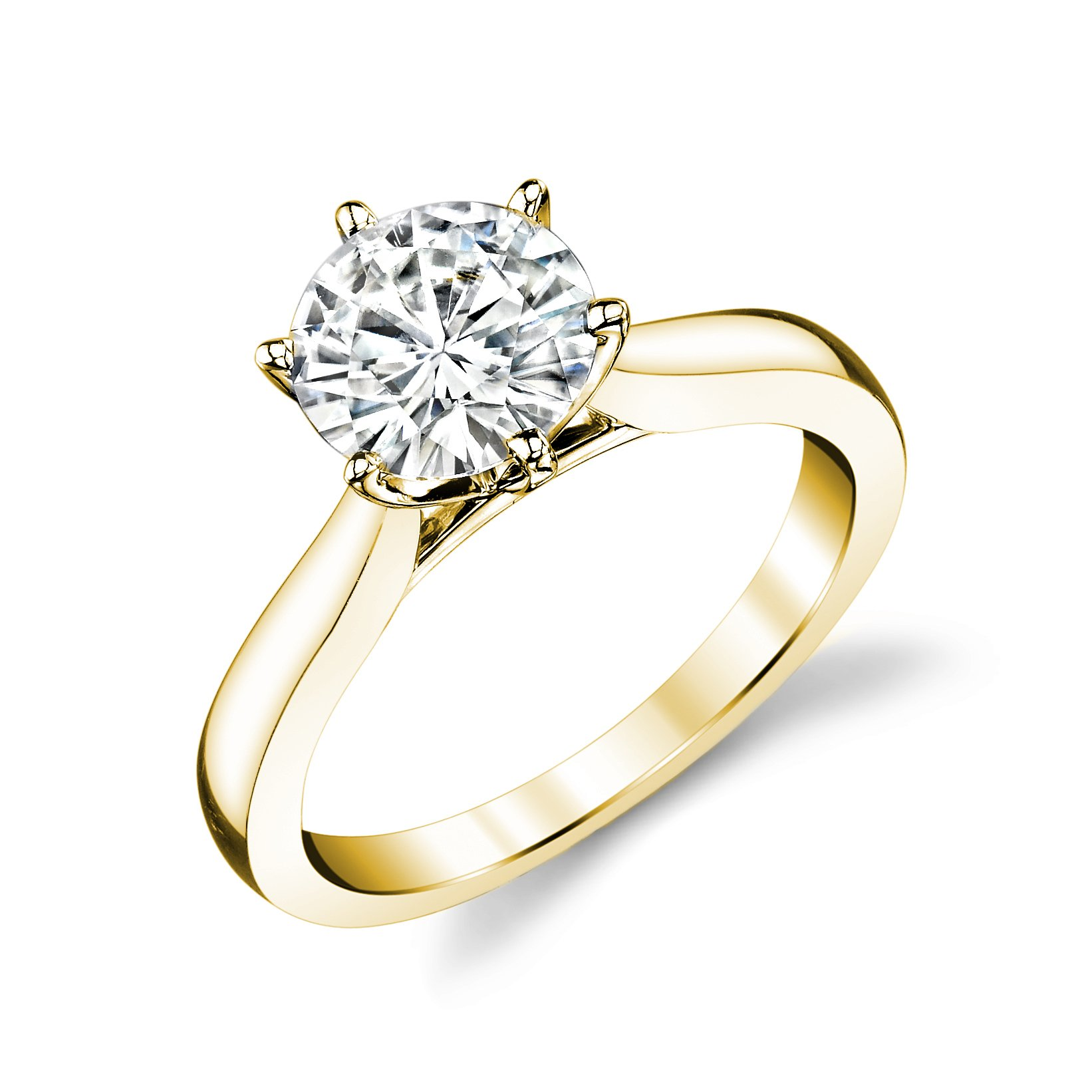 Forever Brilliant Round 8.0mm Moissanite Engagement Ring - size 8, 1.90ct DEW By Charles & Colvard by Charles & Colvard