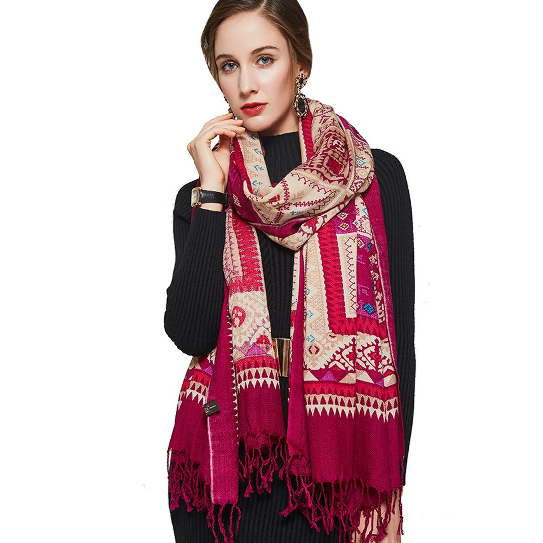 Red DANA XU Pure Wool Ponchos Blanket for Women Large Pashmina Shawls and Wraps (bluee&White)