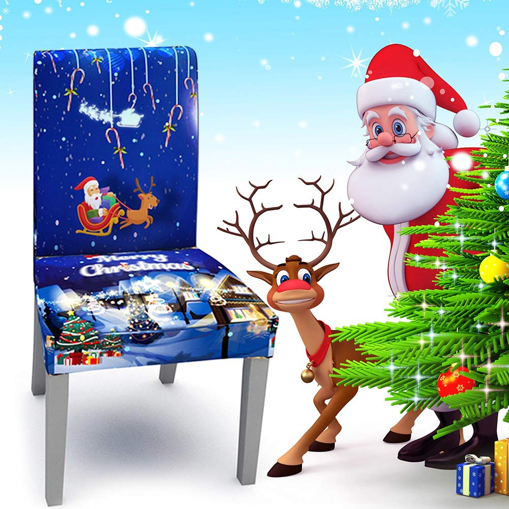 SYLOTS Christmas Dining Room Chair Covers, 4 PCS Santa Claus Chair Covers, Dining Chair Slipcovers Chair Protector Seat Cover for Dining Furniture Ceremony Hotel for Party by SYLOTS