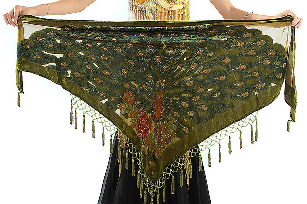 GUILTY BEAUTY Vintage Triangle Velvet Hip Scarf Shawl Wrap with Fringes and Burnout Peacock Pattern,Medium,Dark Green