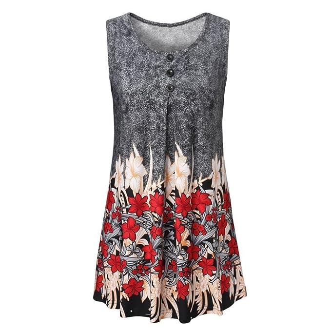 d5d51c7a4299 LeeY Damen Casual Ärmellos Taste Druck Sommerkleid Minikleid Strandkleid  Partykleid Rundhals Rock Mädchen Blumen Drucken Kleider
