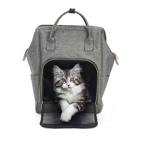 Petcomer Mochila Portátil para Gato Pequeños Cachorro de Perros Portador de Gato para Caminar Viaje (