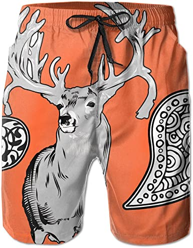 Deer Head Animals Mens Quick Dry Printed Board Swim Beach Shorts with Pockets