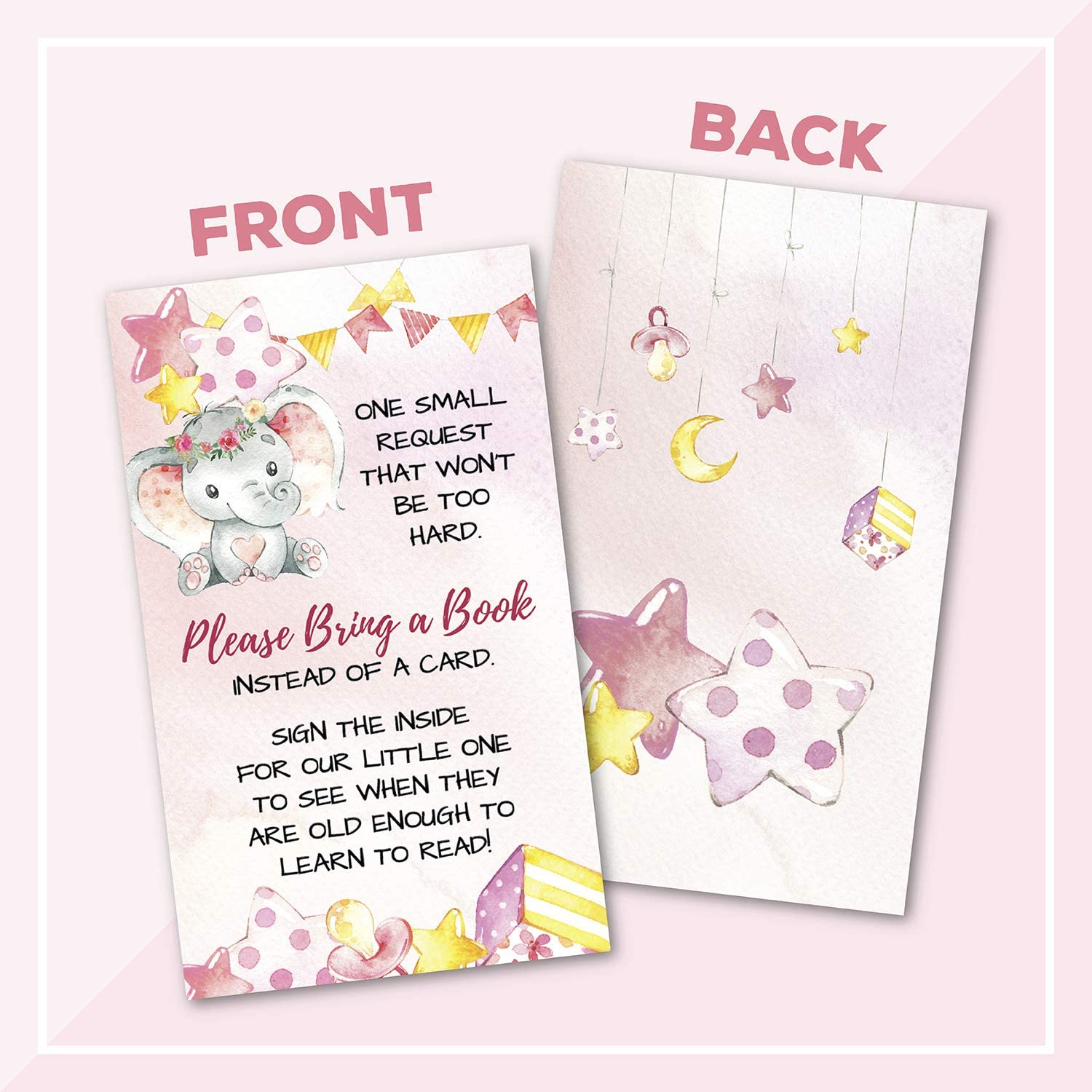 50 Double Sided Elephant Books for Baby Request Insert Card for Girl Baby Shower Invitations or Gender Reveal Invites Bring A Book Instead of a Card Party Games Activities Decorations