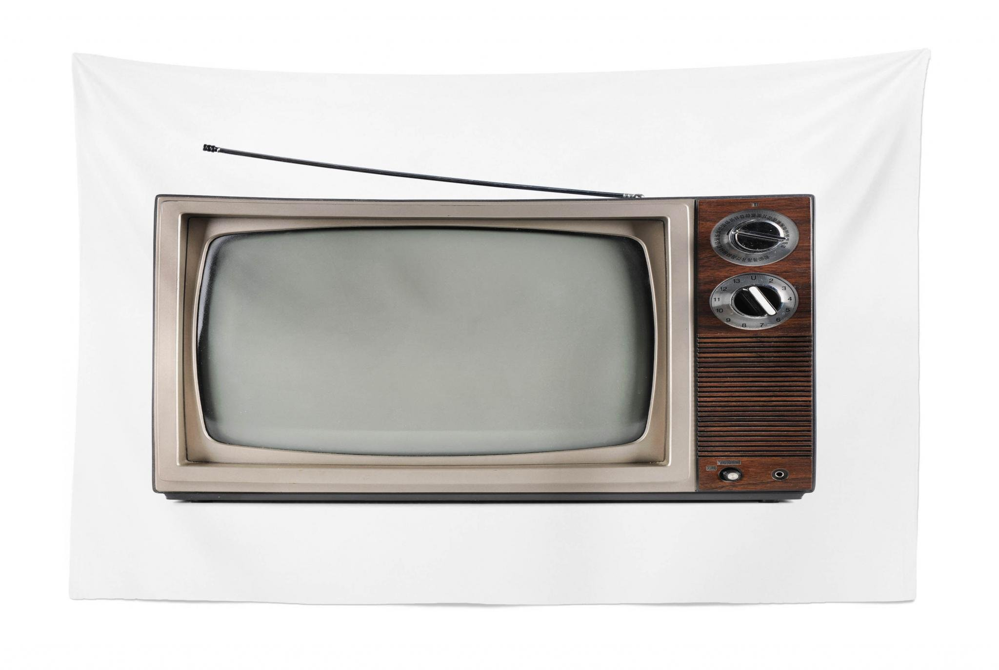 Lunarable 1950s Tapestry, Old Television with Antenna Broadcast Display Antique TV Historic Movie Screen, Fabric Wall Hanging Decor for Bedroom Living Room Dorm, 45 W X 30 L inches, Umber Taupe White