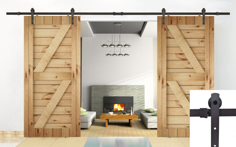 Unionline 13 Ft American Style Sliding Wood Barn Door Hardware Sliding Track Kit Steel Straight Style