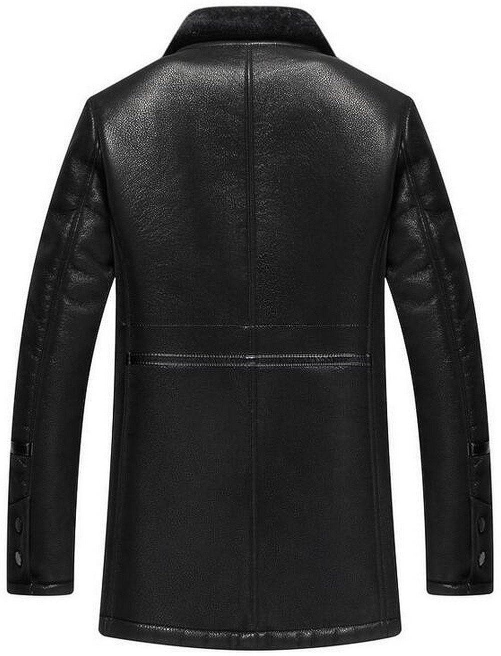 a67d7486c moxishop Men s Blazer Lapel Sheepskin Leather Fur Coat Warm Winter ...
