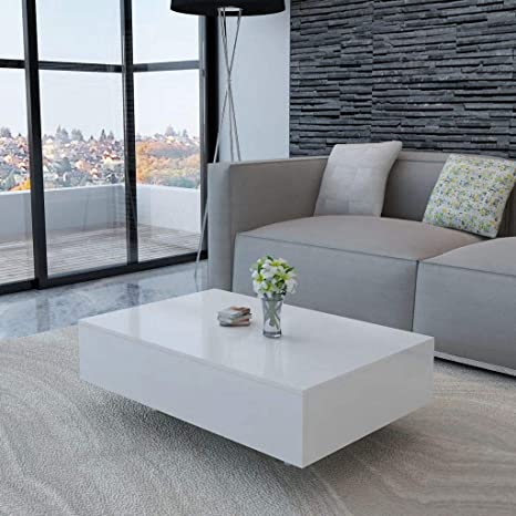 Amazon Com Canditree Modern Rectangular Coffee Table High Gloss White Coffee Table For Living Room Office 33 5 X 21 7 X 12 2 Kitchen Dining