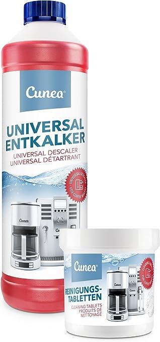 Cunea 750 ml descalcificador y 50 x Pastillas de limpieza para cafetera de café automáticas Adecuado para DeLonghi Saeco Jura Bosch Melitta Siemens Krups Tassimo ...