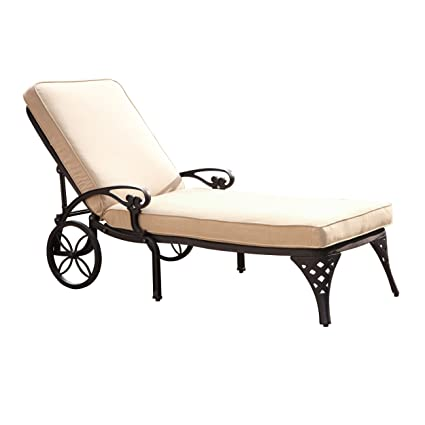 Home Styles Biscayne Chaise Lounge Chair, Taupe Cushion