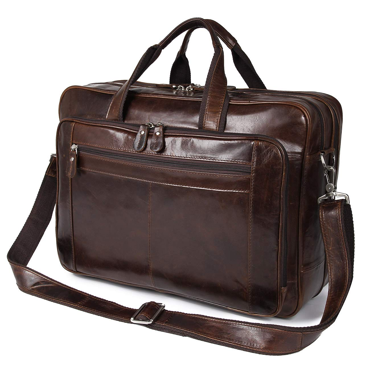 Augus Leather Briefcases for Men, Waterproof Travel Messenger Duffle Bags 17 Inch Laptop Bag (cofee-1) by Augus (Image #2)