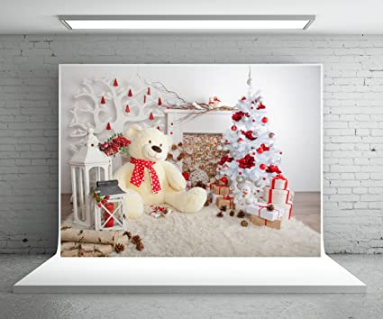 5x7 ft big bear white christmas tree photography backdrop white blanket wood floor christmas backdrop - Big Bear Christmas