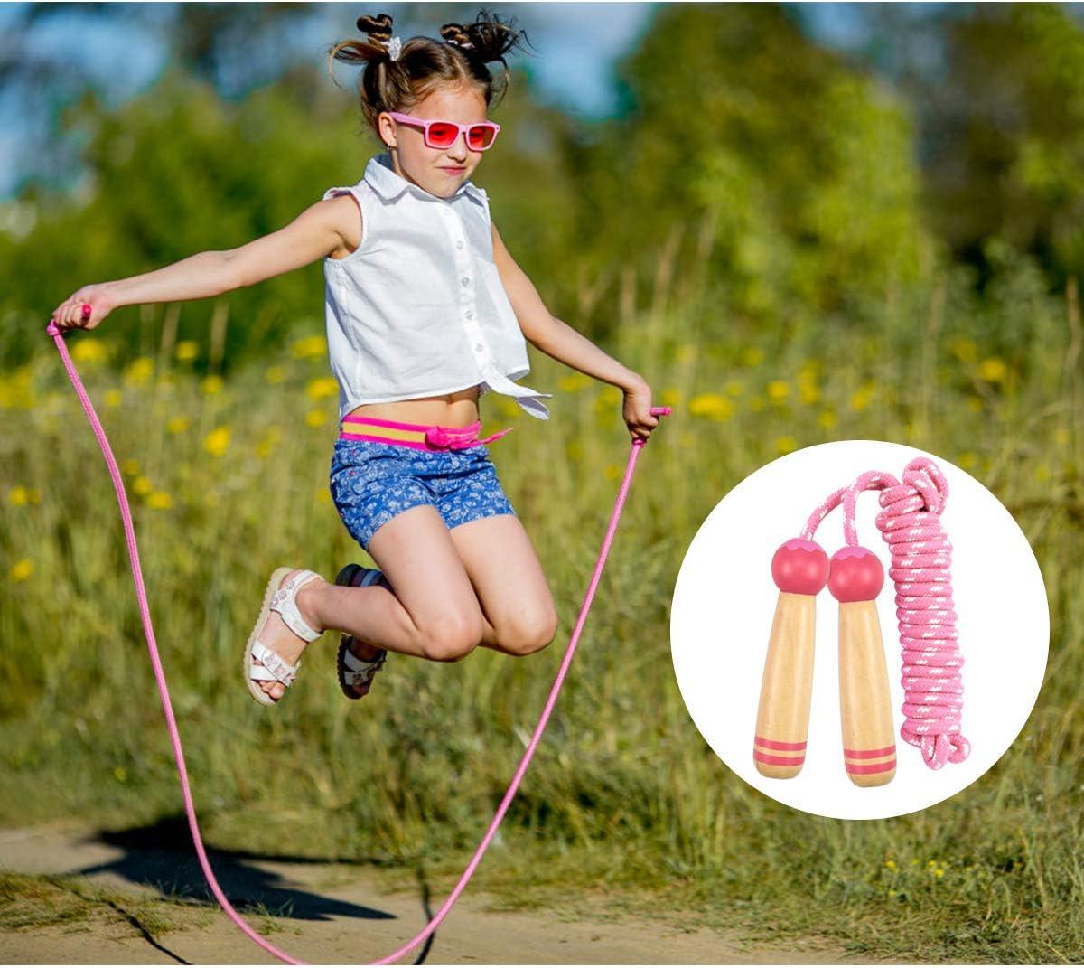 245cm Disino 2 Pezzi Corde per Saltare Bambini Regolabile Corda per Saltare con Confortevole Manico in Legno per Ragazzi e Ragazze Sport Fitness Esercitarsi attivit/à Indoor e Outdoor Blu e Rosa