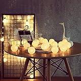 ELINKUME® LED Bolas de algodón luces de hadas, 20 LEDs 4M/13,12 pies, alimentado por USB, blanco cálido bola de algodón…