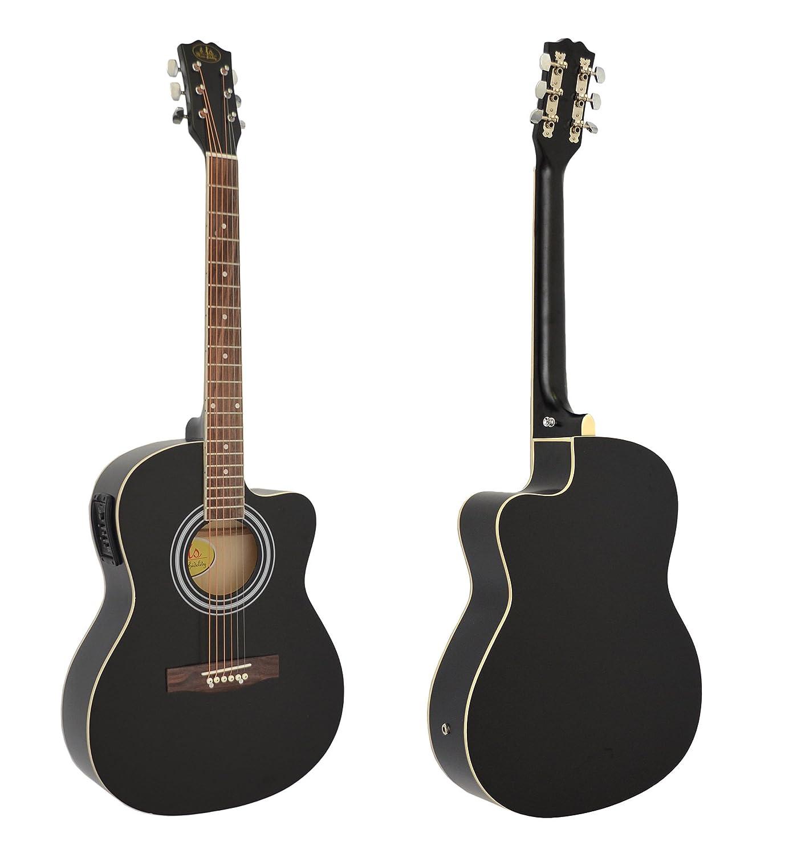 4 4 Elektro Akustik Gitarre Westerngitarre in schwarz mit 4 Band Pickup EQ Tonabnehmer Tasche mit Zubehör Amazon Musikinstrumente