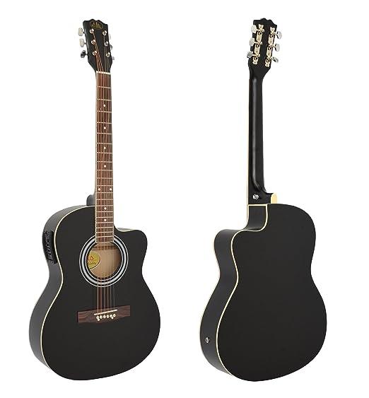 4/4 Guitarra acústica eléctrica en negro con 4 banda EQ pastilla + ...