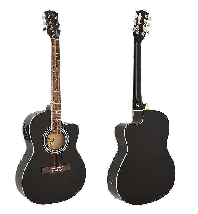 Guitarra acústica WESTERN completa con accesorios y ecualizador activo de 4 bandas Calidad Premium. NEGRA. Tamaño regular (4/4).
