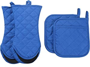 ARCLIBER Oven Mitts and Potholders,4PCS Heat Resistant Kitchen Gloves,Cotton Lining Non-Slip Rubber Surface 2 Oven Mitts,2 Pot Holders for Cooking,Baking,Grilling,Barbecue,Navy Blue