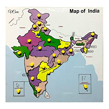 Vcare wooden craft Map of India Puzzle Tray with Knobs Multi Color,(11*11*1 Inch)