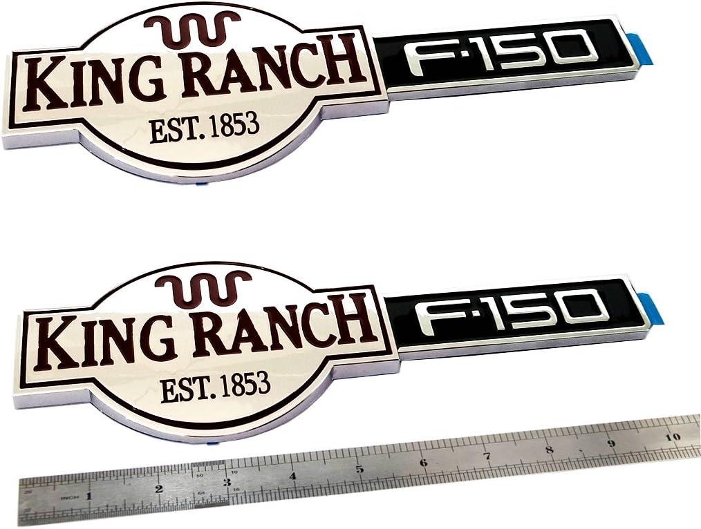 2x OEM King Ranch F150 3D Emblems Badges Door Tailgate for F-150 Matte Silver Sanucaraofo