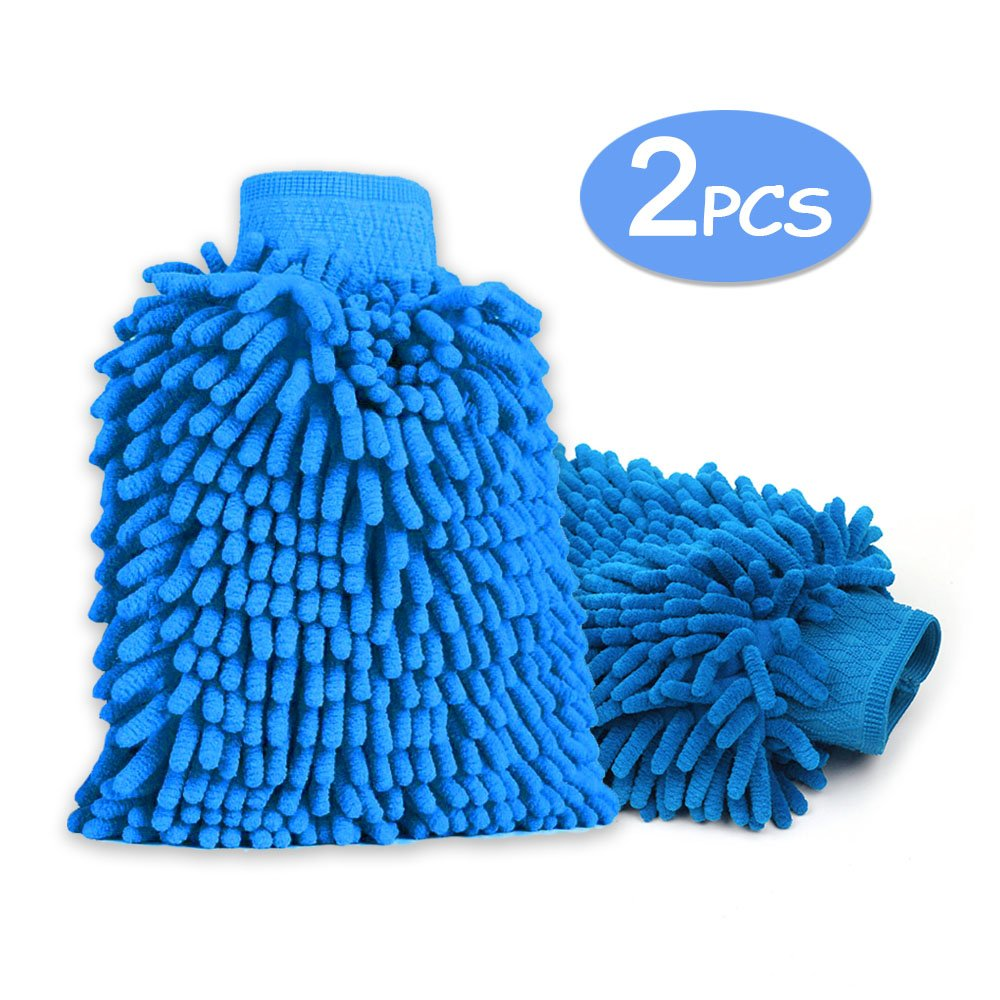 EGOERA Microfibre Wash Mit, reg; 2 Pcs Microfibre Chenille Noodle Wash Glove Pad, Waterproof Ultra-soft Non-scratch Home Car Cleaning Gloves Mitt, Dark Blue E-TOP EGQP00039DB-LMD