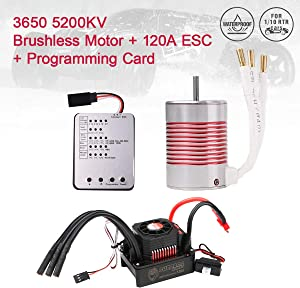Innovateking 3650 5200KV Sensorless Brushless Motor with 120A ESC Electronic Speed Controller and Programming Card Waterproof Combo Set 3.175mm Shaft for 1/10 RC Car