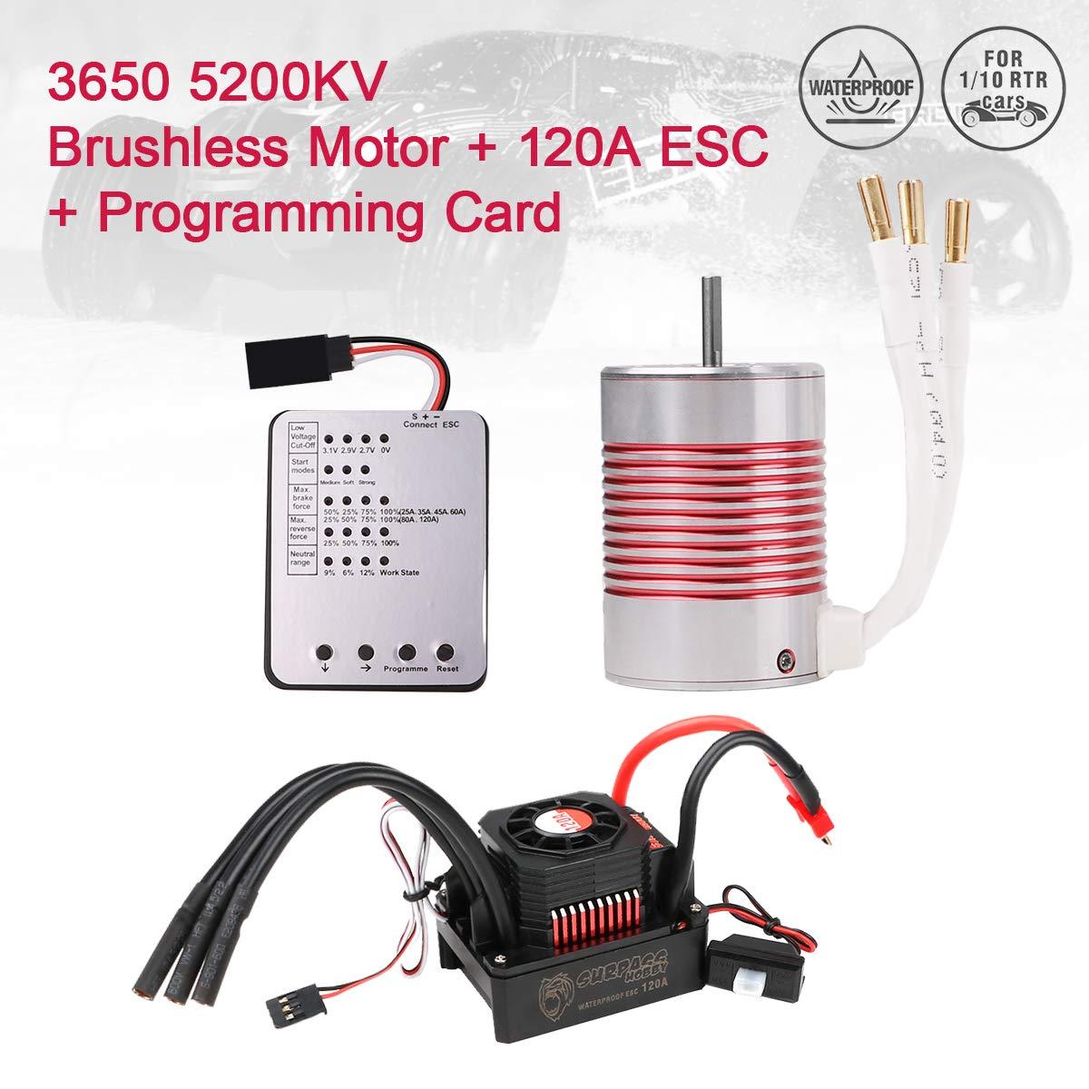 Red RCRunning 3650 5200KV 3.175mm Shaft Brushless Motor Splashproof 60A ESC Combo Set 1//10 Scale RC Car